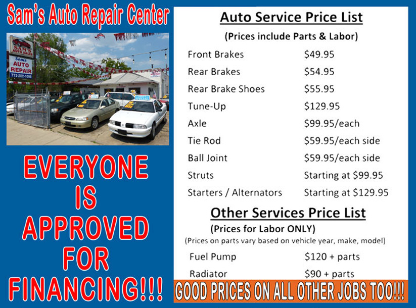 Car repair price list uk